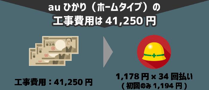 auひかり(ホームタイプ)の工事費用は41,250円⇒1,178円×35回払い(初回のみ1,194円)