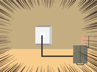 光コンセントとONUが繋がっているイラスト