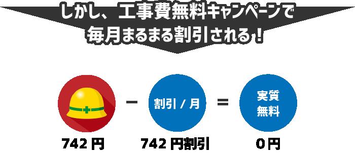 しかし、工事費無料キャンペーンで毎月742円の割引を受けることができるため、実質的には0円の支払となる。