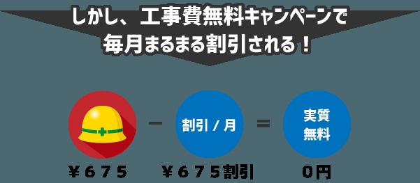 しかし、工事費無料キャンペーンで毎月675円の割引を受けることができるため、実質的には0円の支払となる。