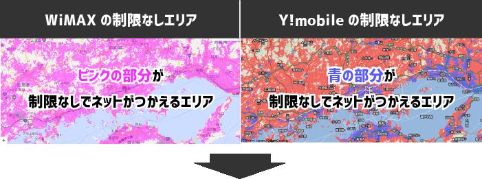 WiMAXの制限なしエリアと、Y!mobileno制限無しエリアの見方サンプルイラスト