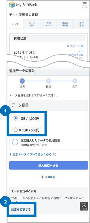 My SoftBankにて追加データの容量を選ぶ画面