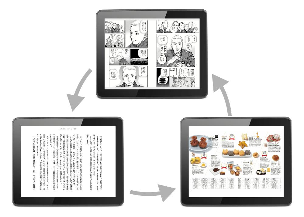 タブレットでマンガ・雑誌・本は快適に閲覧できる。