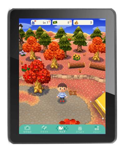 タブレットで動物の森をプレイした場合の画面