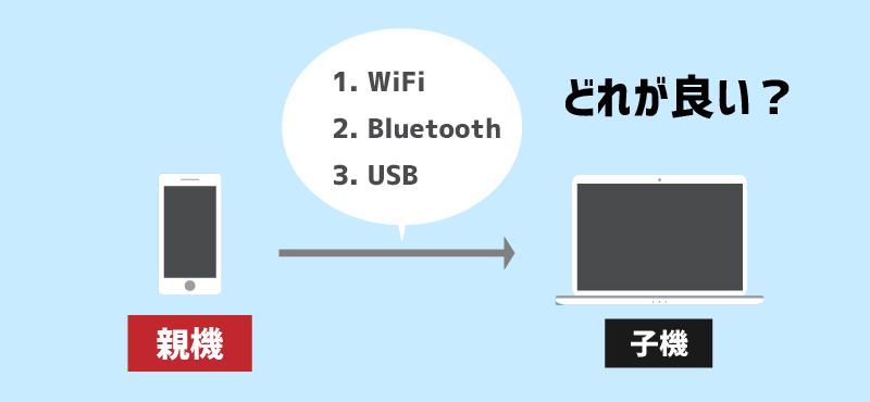 テザリングの接続方法3つ(1. WiFi 2. Bluetooth 3. USB)