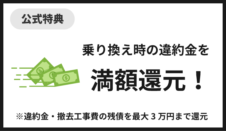 auひかり乗り換え時の違約金満額還元(最大3万円まで)キャンペーン