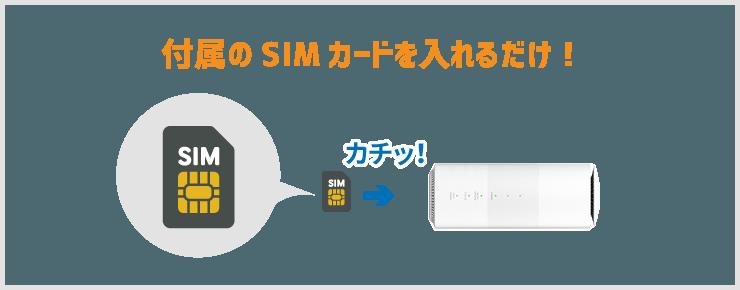 工事不要のWiFiは付属のSIMを入れるだけで、設定完了。