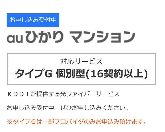 auひかり(マンションタイプ)の提供エリア判定でタイプGになった場合の表示